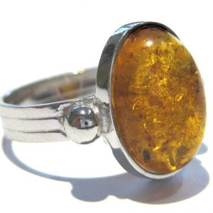 Amber Ring Silver 925%