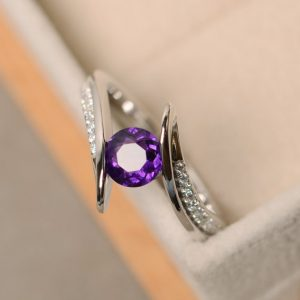 Shop Amethyst Engagement Rings! Amethyst ring, engagement  ring, sterling silver, purple amethyst, quartz ring silver, purple gemstone | Natural genuine Amethyst rings, simple unique alternative gemstone engagement rings. #rings #jewelry #bridal #wedding #jewelryaccessories #engagementrings #weddingideas #affiliate #ad