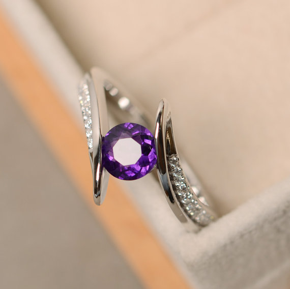 Amethyst Ring, Engagement  Ring, Sterling Silver, Purple Amethyst, Quartz Ring Silver, Purple Gemstone