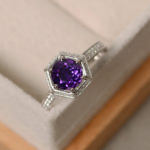 Amethyst engagement ring, wedding ring, purple gemstone, February birthstone ring, sterling silver | Natural genuine Array jewelry. Buy handcrafted artisan wedding jewelry.  Unique handmade bridal jewelry gift ideas. #jewelry #beadedjewelry #gift #crystaljewelry #shopping #handmadejewelry #wedding #bridal #jewelry #affiliate #ad