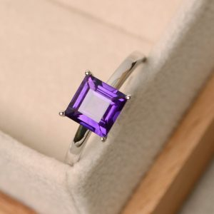 Amethyst Ring, Purple Gemstone Ring, Square Ring, Solitaire Ring, February Birthstone Ring