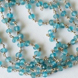 Apatite Faceted Rondelle Beads In 925 Silver Wire Wrapped Rosary Style Chain Neon Blue Apatite Beaded Chain, By Foot