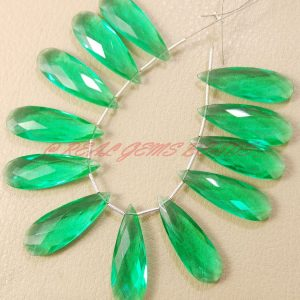 Apatite Green Quartz Faceted Elongated Pear Shape Briolettes, 35 Mm Long Size, 2 Pieces, Loose Gemstone Almond Beads