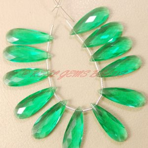 Apatite Green Quartz Faceted Elongated Pear Shape Briolettes, 30 Mm Long Size, 10 Pieces, Loose Gemstone Almond Beads