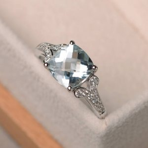 natural aquamarine ring, cushion cut promise engagement wedding ring, silver ring,blue gemstone ring,March birthstone ring | Natural genuine Array rings, simple unique alternative gemstone engagement rings. #rings #jewelry #bridal #wedding #jewelryaccessories #engagementrings #weddingideas #affiliate #ad