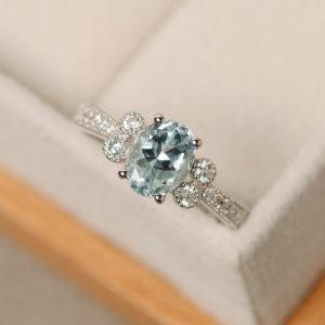 Shop Aquamarine Rings! Aquamarine ring, oval cut, natural aquamarine, sterling silver, March birthstone ring | Natural genuine Aquamarine rings, simple unique handcrafted gemstone rings. #rings #jewelry #shopping #gift #handmade #fashion #style #affiliate #ad