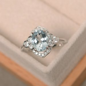 Oval Cut Ring, Aquamarine Ring, Sterling Silver, Engagement Ring, Wedding Ring | Natural genuine Aquamarine rings, simple unique alternative gemstone engagement rings. #rings #jewelry #bridal #wedding #jewelryaccessories #engagementrings #weddingideas #affiliate #ad