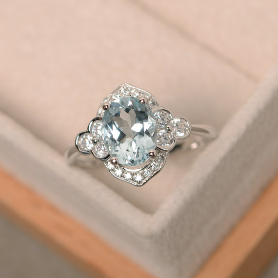 Oval Cut Ring, Aquamarine Ring, Sterling Silver, Engagement Ring, Wedding Ring
