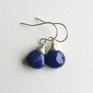 Blue Lapis Lazuli Earrings With Sterling Silver Ear Wires Simple Dangle Drop Gemstone Jewelry Handmade In Seattle Gift For Her
