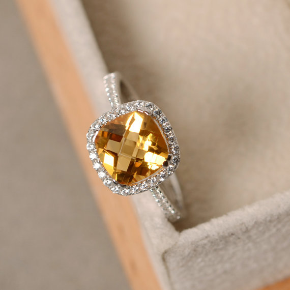 Citrine Ring, Cushion Cut, Yellow Gemstone, Engagement Ring