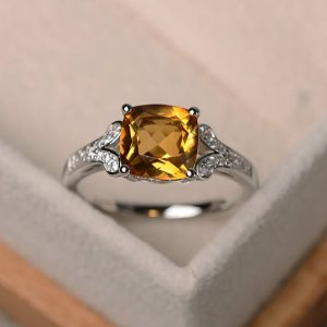 Natural Citrine Ring, Cushion Cut Engagement Wedding Ring, Sterling Silver Ring,yellow Gemstone Ring,november Birthstone Ring