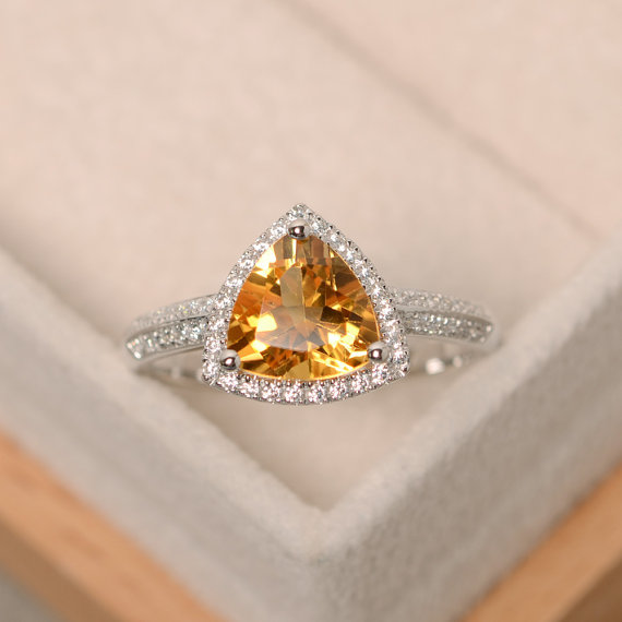 Citrine Ring, Triangle Cut Citrine, Natural Citrine, Engagement Ring, Trillion Cut Ring