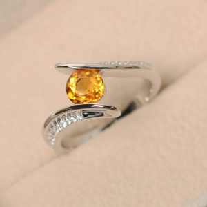 Citrine ring, yellow gemstone ring, crystal ring, quartz ring, sterling silver