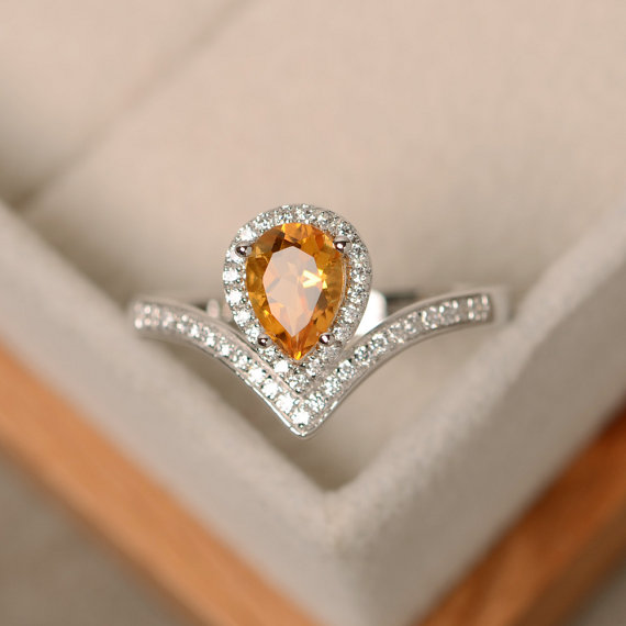 Citrine Ring, Yellow Gemstone, Pear Cut, Engagement Ring, Silver November Birthstone Ring