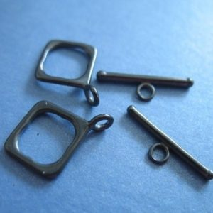 Shop Clasps for Making Jewelry! Shop Sale.. 1 5 10 Sets, Oxidized Sterling Silver Toggle Clasp, DIAMOND SQUARE, 18.5×14 mm, Small, wholesale sale antique vintage  t3.ox | Shop jewelry making and beading supplies for DIY jewelry making and crafts. #jewelrymaking #diyjewelry #jewelrycrafts #jewelrysupplies #beading #affiliate
