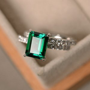Emerald engagement ring, May birthstone, green gemstone, promise rings, emerlad ring for women | Natural genuine Gemstone rings, simple unique alternative gemstone engagement rings. #rings #jewelry #bridal #wedding #jewelryaccessories #engagementrings #weddingideas #affiliate #ad