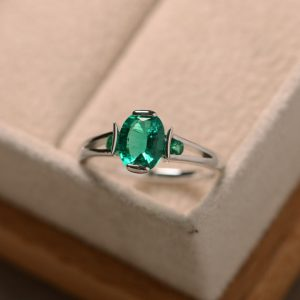 Emerald Ring, Lab Emerald, Sterling Silver, Promise Ring, May Birthstone Ring, Engagement Ring