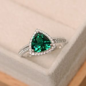 Shop Emerald Engagement Rings! Lab emerald ring, trillion cut engagement ring, sterling silver | Natural genuine Emerald rings, simple unique alternative gemstone engagement rings. #rings #jewelry #bridal #wedding #jewelryaccessories #engagementrings #weddingideas #affiliate #ad