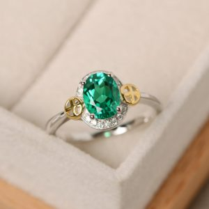 Emerald Ring, Oval Cut, Engagement, Sterling Silver, Yellow Gold, Cross Ring