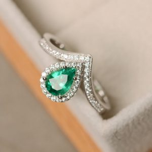 Shop Emerald Jewelry! Emerald ring, pear cut, gemstone ring emerald | Natural genuine Emerald jewelry. Buy crystal jewelry, handmade handcrafted artisan jewelry for women.  Unique handmade gift ideas. #jewelry #beadedjewelry #beadedjewelry #gift #shopping #handmadejewelry #fashion #style #product #jewelry #affiliate #ad