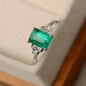 Emerald Ring, Promise Ring, Emerald, May Birthstone Ring