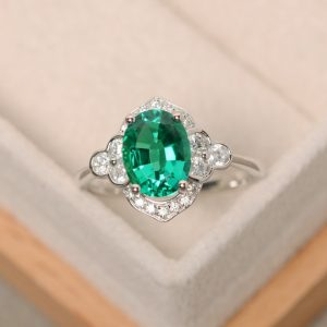 Emerald Ring, Sterling Silver, Oval Cut Emerald, Green Gemstone, Promise Ring