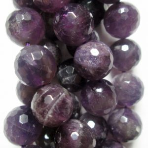 """Faceted Genuine Amethyst Beads – Round 10 Mm Beads, Semi Precious Gemstone Beads – Full Strand 15"""", 39 Beads, Ab+ – Quality"""