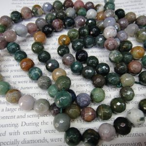 """Faceted Round – 10mm Indian Agate Round Beads, 16"""" Strand Long"""
