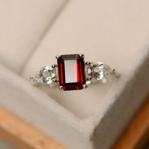 Garnet ring, engagement ring, sterling silver, January birthstone ring