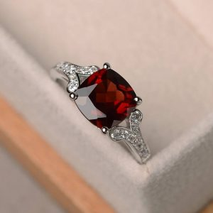 Shop Garnet Rings! Natural Garnet Ring, Cushion Cut Promise Wedding Ring, Sterling Silver Ring, red Gemstone Ring, january Birthstone Ring | Natural genuine Garnet rings, simple unique alternative gemstone engagement rings. #rings #jewelry #bridal #wedding #jewelryaccessories #engagementrings #weddingideas #affiliate #ad