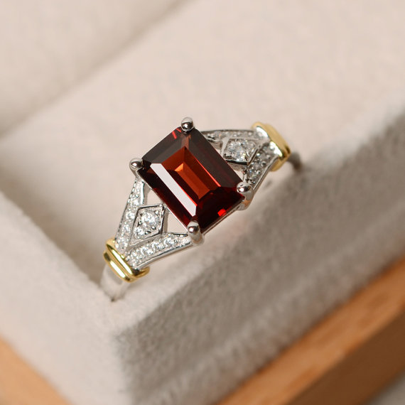 Garnet Ring, Sterling Silver With Gold, January Birthstone Ring, Engagement Ring