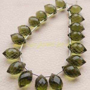 Green Amethyst Quartz Dew Drops, Green Amethyst Quartz Faceted Dew Drop Shape Briolettes 16×10 Mm Size, 10 Pieces, Loose Gemstone Beads