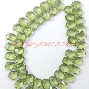 Green Amethyst Quartz Faceted Pear Shape Briolettes, 12×9 Mm Size 7 Inches Strand, Loose Gemstone Almond Beads