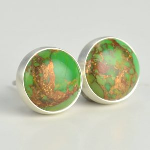 Green Mojave Turquoise 8mm With Copper Sterling Silver Stud Earrings Pair