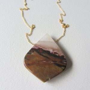 Jasper Necklace With Gold Filled Chain One Of A Kind Smooth Stone Jewelry Handmade In Seattle Unique Gemstone Gifts Statement Necklace