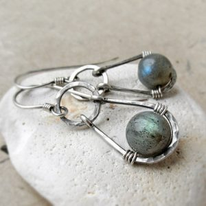Shop Labradorite Jewelry! Labradorite Earrings, Sterling Silver Earrings, Hammered Wire Earrings, Gemstone Earrings, Third Eye Chakra, Gift for Her | Natural genuine Labradorite jewelry. Buy crystal jewelry, handmade handcrafted artisan jewelry for women.  Unique handmade gift ideas. #jewelry #beadedjewelry #beadedjewelry #gift #shopping #handmadejewelry #fashion #style #product #jewelry #affiliate #ad
