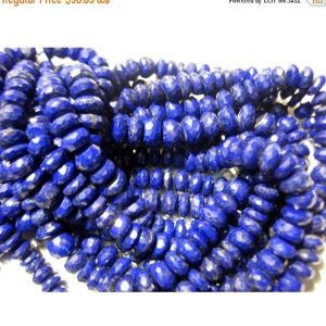 Shop Lapis Lazuli Faceted Beads! Lapis Lazuli – Rondelles Micro Faceted – 5.5mm Beads – 4.5 Inch Half Strand – 26pcs Approx | Natural genuine faceted Lapis Lazuli beads for beading and jewelry making.  #jewelry #beads #beadedjewelry #diyjewelry #jewelrymaking #beadstore #beading #affiliate #ad