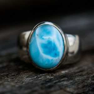 Larimar Ring – Size 8.5 Larimar Ring –  Sterling Silver And Larimar Ring – Genuine Larimar – Aaa Larimar Ring  – Larimar Jewelry