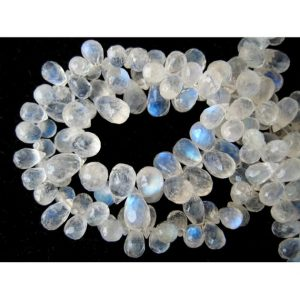 Shop Moonstone Faceted Beads! Rainbow Moonstone/ Tear Drop Beads/ Faceted Gemstones/ 6x4mm Each/ 48 Pieces/ 4 Inch Half Strand | Natural genuine faceted Moonstone beads for beading and jewelry making.  #jewelry #beads #beadedjewelry #diyjewelry #jewelrymaking #beadstore #beading #affiliate #ad