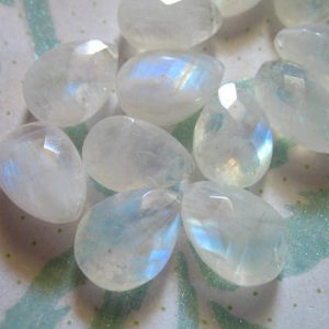 Shop Sale..  1 Pc, 13-14 Mm, Moonstone Pear Briolettes Beads, Luxe Aaa, Faceted, Blue Flashes, Brides Bridal June Birthstone 12up Solo
