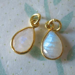 Shop Moonstone Bead Shapes! 1 pc, MOONSTONE Bezel Gem Gemstone Stone Charm Pendant, 24k Gold Vermeil or Sterling Silver, 14×8.25 mm, Pear gcp4 gp ll | Natural genuine other-shape Moonstone beads for beading and jewelry making.  #jewelry #beads #beadedjewelry #diyjewelry #jewelrymaking #beadstore #beading #affiliate #ad