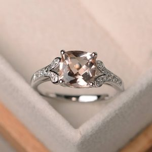 genuine natural morganite ring, cushion cut engagement promise ring, sterling silver ring,pink gemstone ring | Natural genuine Gemstone rings, simple unique alternative gemstone engagement rings. #rings #jewelry #bridal #wedding #jewelryaccessories #engagementrings #weddingideas #affiliate #ad