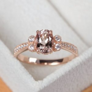 Morganite ring, rose gold, pink morganite engagement ring, oval morganite ring gold | Natural genuine Gemstone rings, simple unique alternative gemstone engagement rings. #rings #jewelry #bridal #wedding #jewelryaccessories #engagementrings #weddingideas #affiliate #ad
