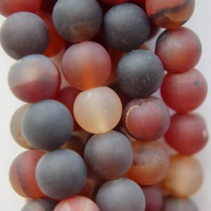"Natural Matte Agate Beads – Round 8 Mm Gemstone Beads – Full Strand 15"", 48 Beads, A-quality"
