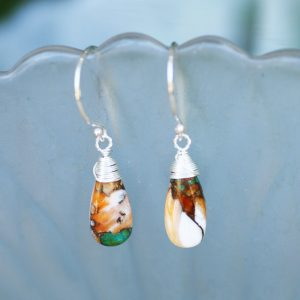 Natural Oyster Turquoise Wire Wrapped Earrings Solid Sterling Silver , December Birthstone, 11th Anniversary , Ooak