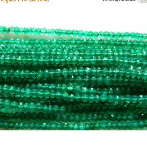 On Sale 55% Green Onyx Beads, Original Gemstone Micro Faceted Rondelle Beads, 4mm Beads, 13 Inch Strand