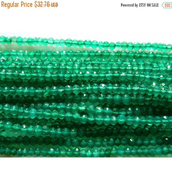 4mm Green Onyx Faceted Rondelle Beads, Natural Green Onyx Beads, 13 Inch Green Onyx Faceted Bead For Jewelry (1st To 5st Options)