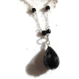 Shop Onyx Necklaces! Black Onyx Necklace – Gemstone Jewelry – Sterling Silver Jewellery – Tear Drop Pendant – Wire Wrapped – Luxe – Statement   Natural genuine Onyx necklaces. Buy crystal jewelry, handmade handcrafted artisan jewelry for women.  Unique handmade gift ideas. #jewelry #beadednecklaces #beadedjewelry #gift #shopping #handmadejewelry #fashion #style #product #necklaces #affiliate #ad