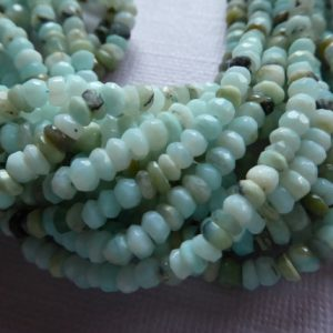 10% Off Sale..  Peruvian Opal Rondelles Beads, Full Strand, 3.5-4 Mm, Luxe Aaa, October Birthstone Aqua Blue Gray Exotic Wf