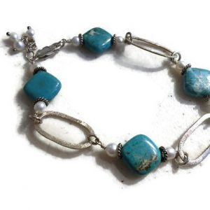 Turquoise Bracelet – White Pearl Gemstone Jewelry – Sterling Silver Jewellery – Funky – Beaded – Fashion